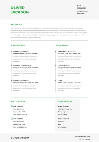 free security cv builder from get licensed